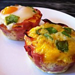 A Paleo Breakfast: Baked Eggs in Ham Cups