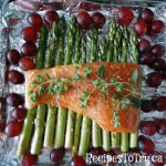 Salmon Roasted Grapes Asparagus in the pan