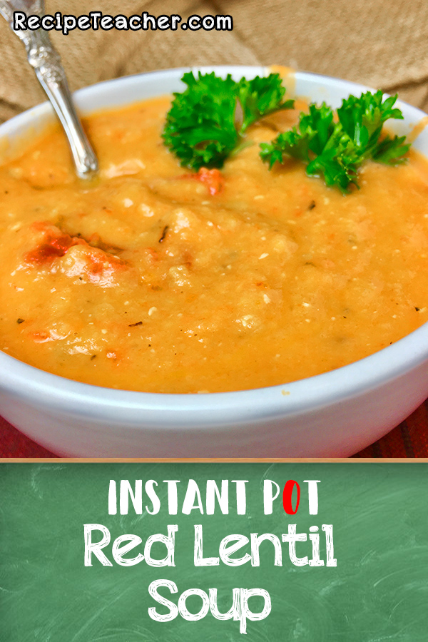 bowl of red lentil soup made in an instant pot