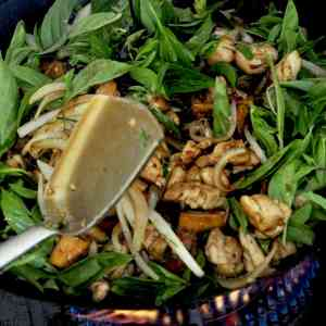 Stir fried chicken with sweet potato and kaffir lime