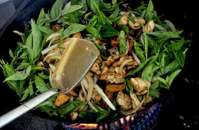 Stir fried chicken with sweet potato and kaffir lime