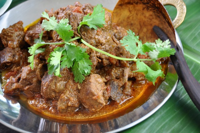 Indian madras beef curry in a bowl garnished with coriander ready to serve