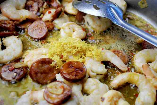 Chorizo & Prawn Pasta - Quick Spicy prawns, zest and lemon juice added to frying pan