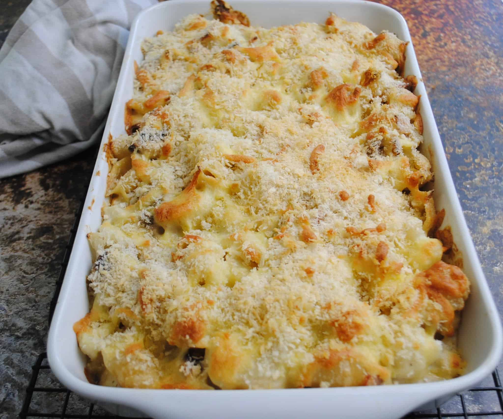Cauliflower pasta bake with bacon and mushrooms - cooked to golden brown in a white baking dish