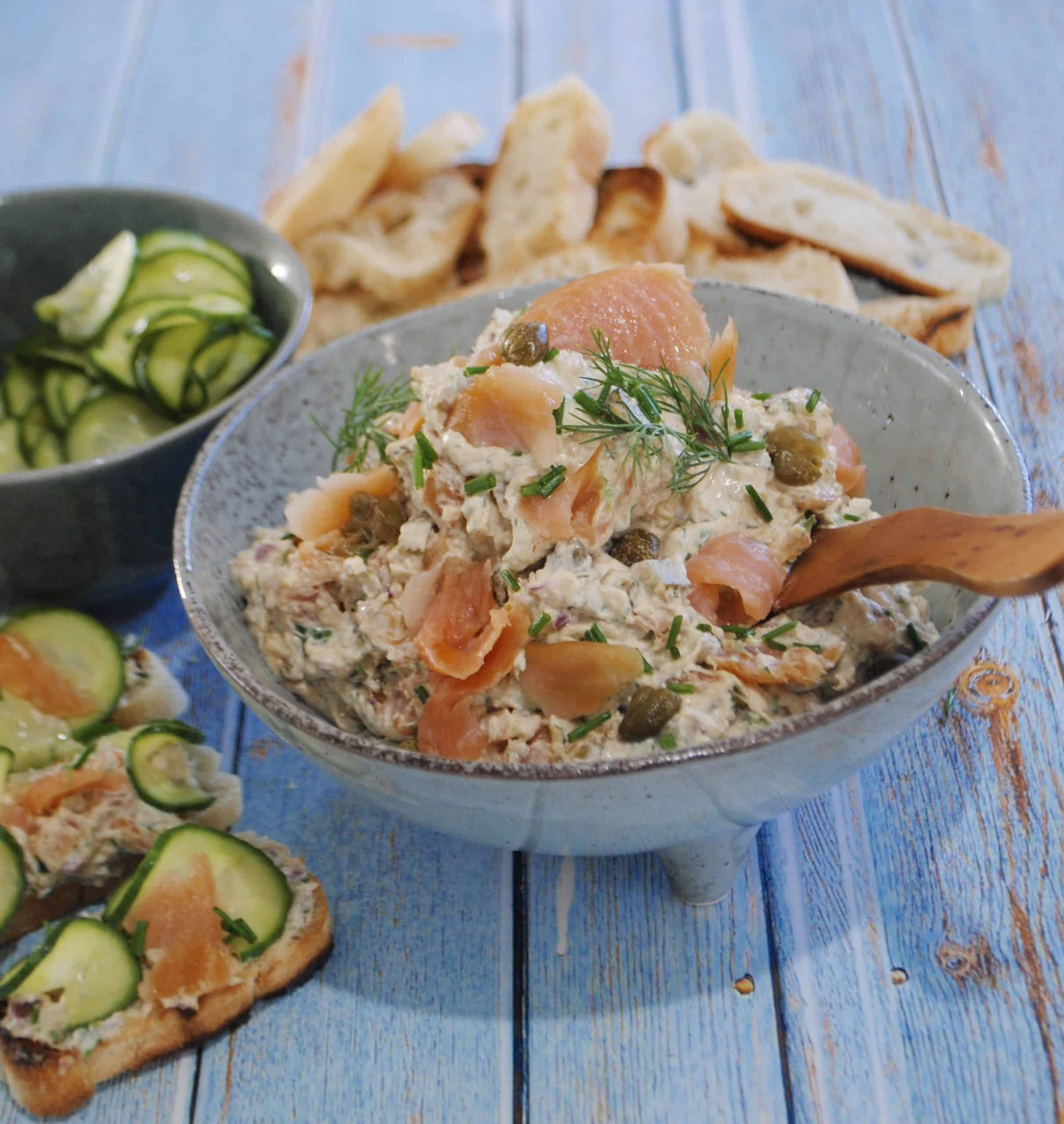 smoked salmon pate with quick pickled cucumbers - gluten free