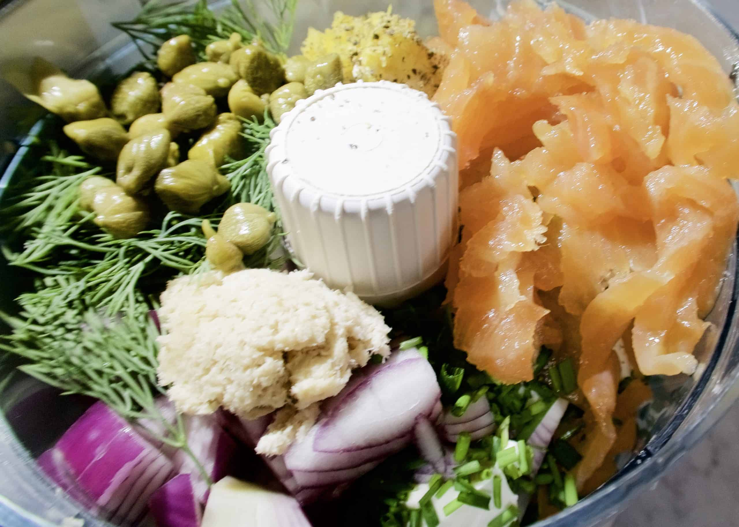 smoked salmon pate with ingredients in food processor bowl