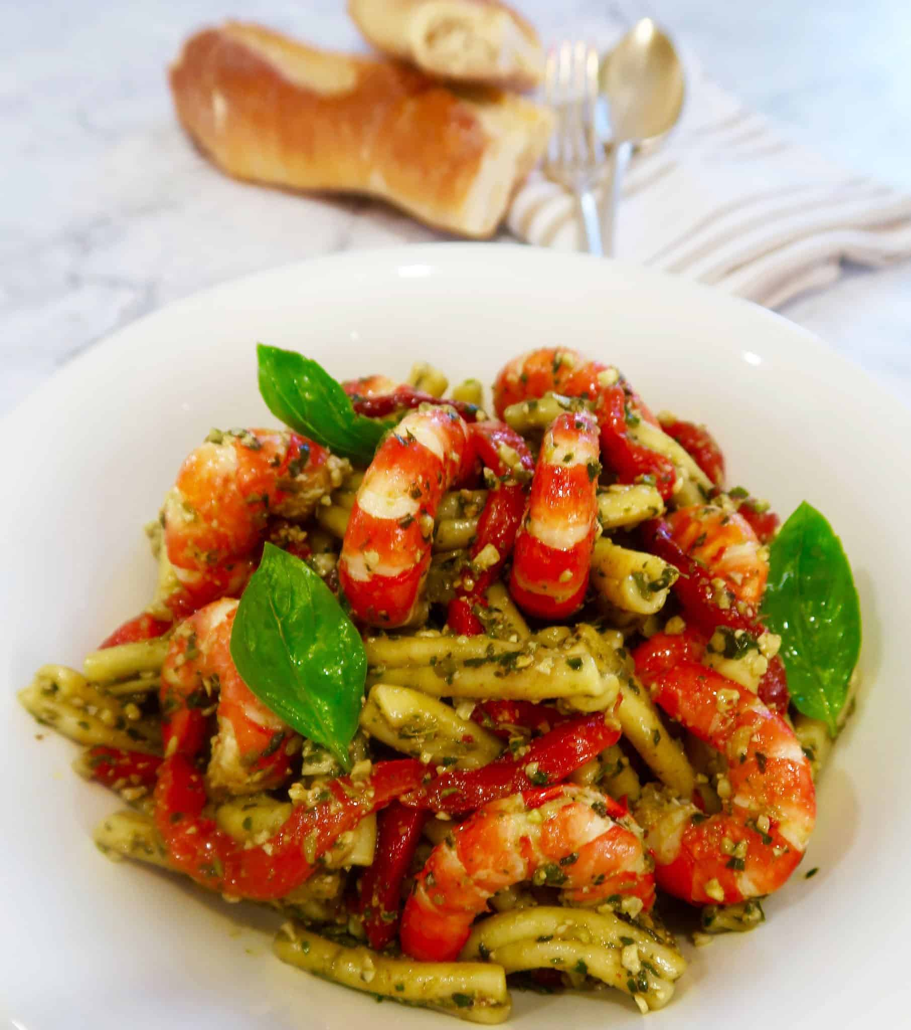 Prawn, pesto and chargrilled capsicum pasta