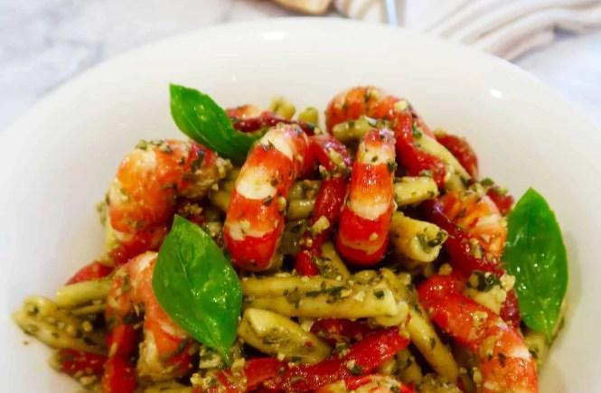 Prawn, pesto and chargrilled capsicum pasta