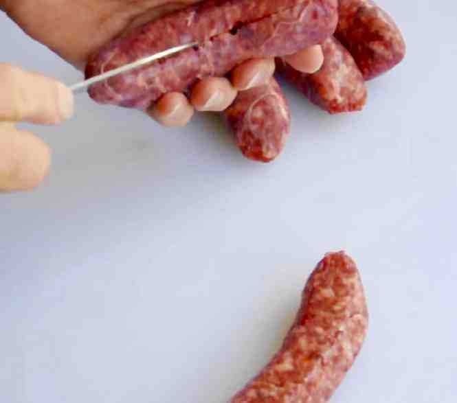 cheats gourmet sausage rolls slitting sausage to remove skin