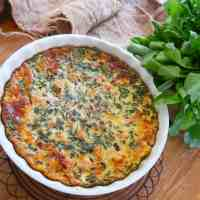 crustless smoked salmon and leek quiche