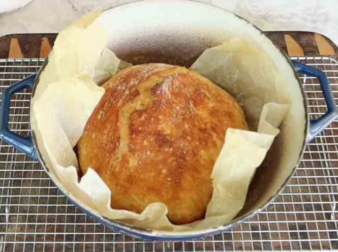 quick no knead bread baked in a cast iron pot