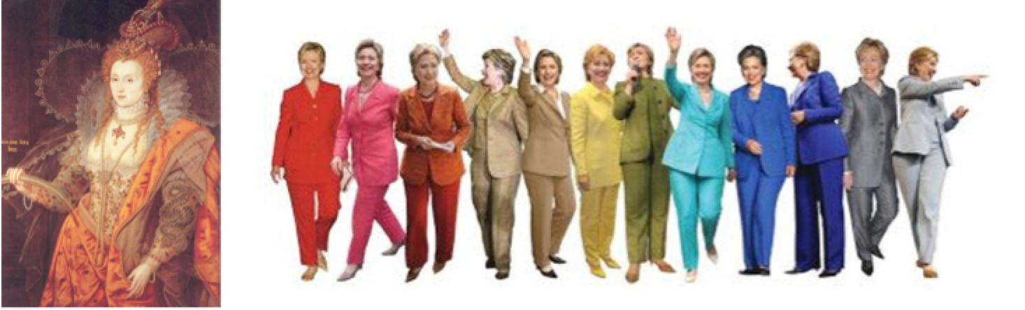 "Left, Elizabeth I, ""Rainbow Portrait""; right, Hillary Clinton, ""Pantsuit Rainbow"""