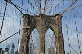 Un morceau du Pont de Brooklyn, le Brooklyn Bridge, New York