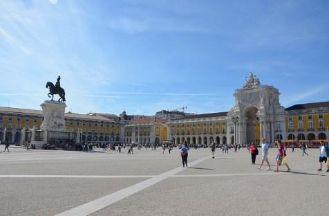Vue sur la Place du Commerce de Lisbonne, Portugal