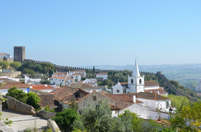 Vue sur les toits de la ville d'Obidos, Portugal