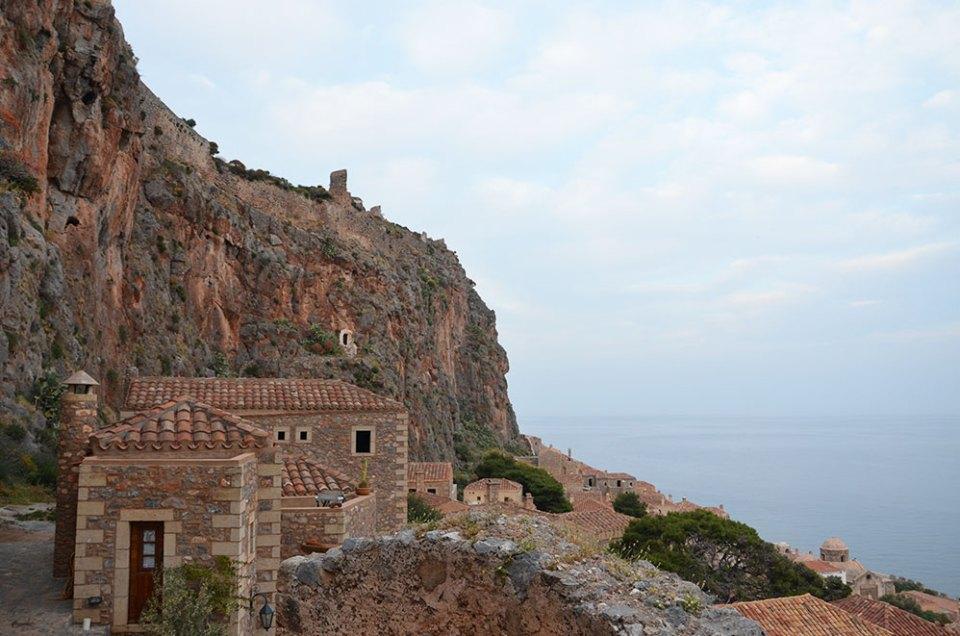 Vue sur la baie depuis les hauteurs de Monemvasia, Grèce