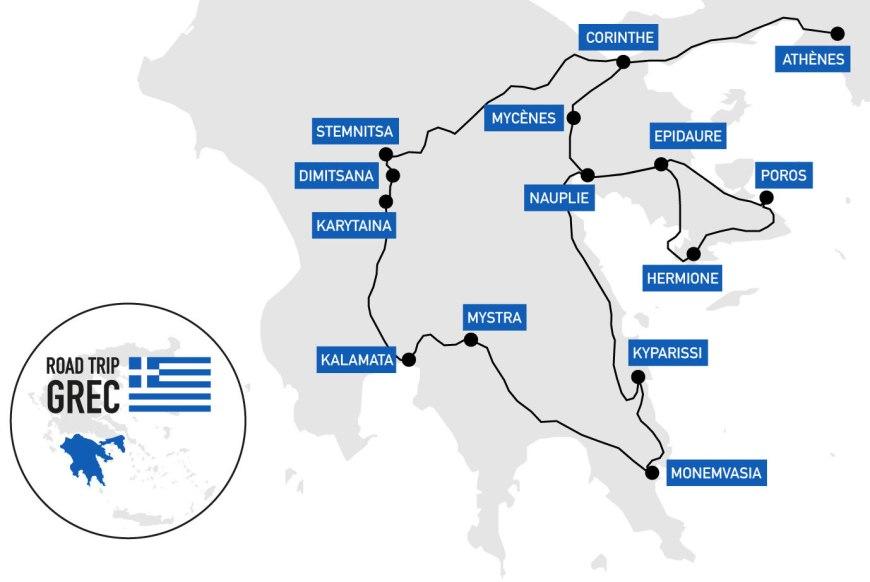Carte de notre road trip dans le Péloponnèse en Grèce