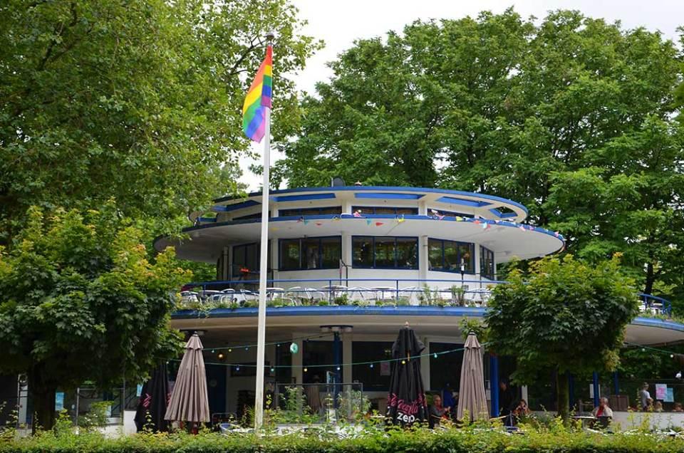 Façade du salon de thé The Blue Tea House dans Vondelpark, Amsterdam