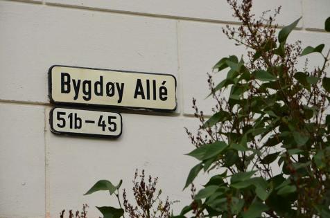 Plaque de la rue Bygboy Allé d'Oslo