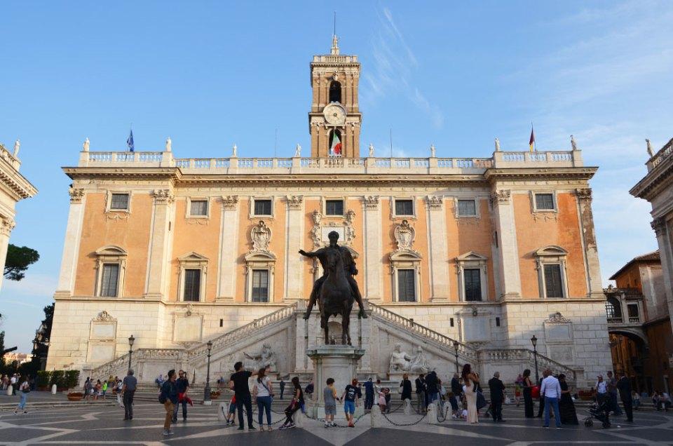 Devanture du musée du capitole, Rome, Italie