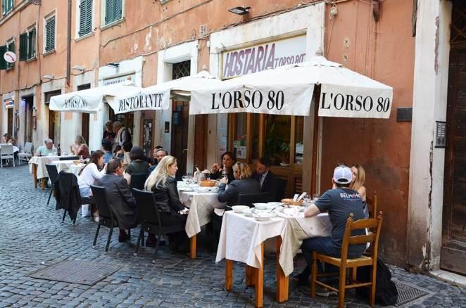 Façade du restaurant l'Orso, Rome, Italie