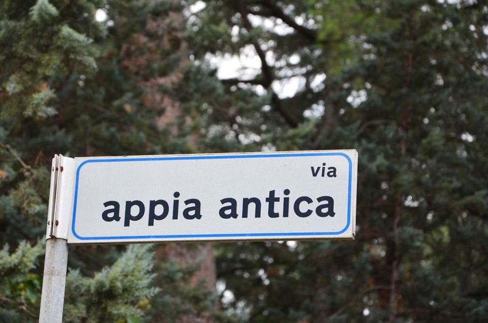 Panneau de la Via Appia Antica, Rome, Italie