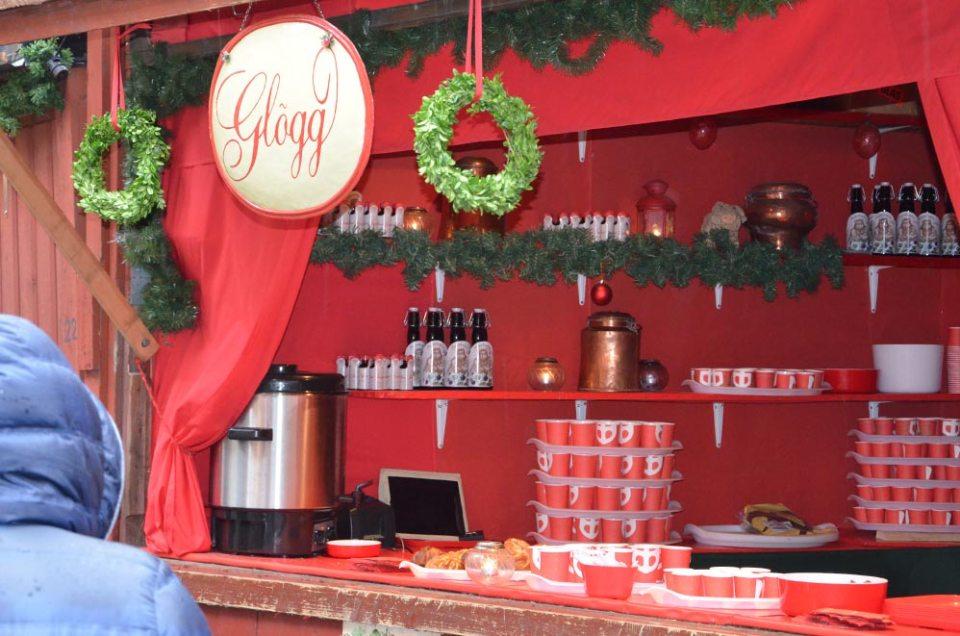 Marché de noël, boutique de vin chaud, Stockholm, Suède