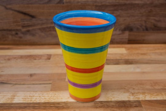 Horizontal Stripey large vase in Yellow
