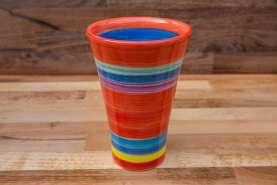 Horizontal Stripey large vase in Red
