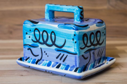Abstract butter dish in blue