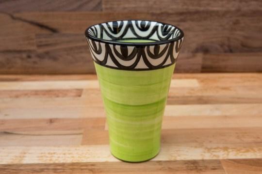 Aztec large vase in lime green