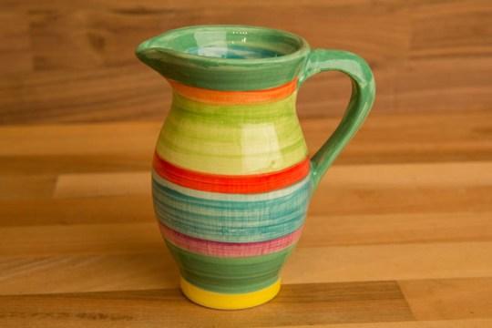 Horizontal Stripey creamer jug in Green