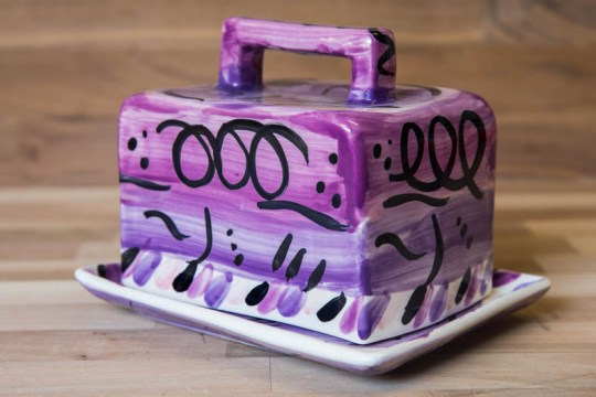 Abstract butter dish in purple