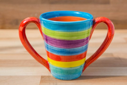 Tapered double handle mug in candy