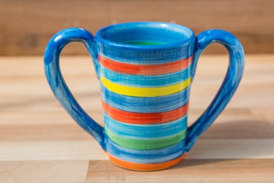 Double handle large parallel mug in blue