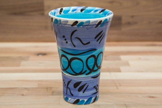 Abstract small vase in blue