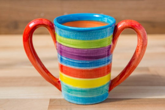 Double handle large parallel mug in candy