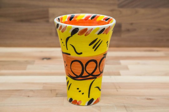 Abstract small vase in yellow