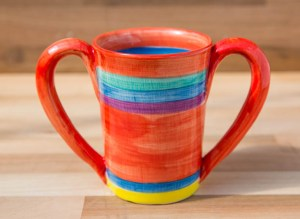 Double handle large parallel mug in red