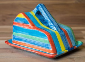 Horizontal Stripey cheese dish in Blue
