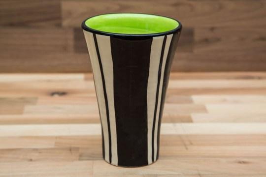 Black and White small vase in Broad Stripe