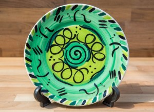 Abstract 11″ dinner plate in green