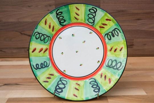 Vertical Stripey 8″ side plate in Green