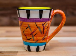 Splash large tapered mug in Orange