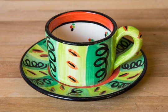 Vertical Stripey small cup and saucer in Green