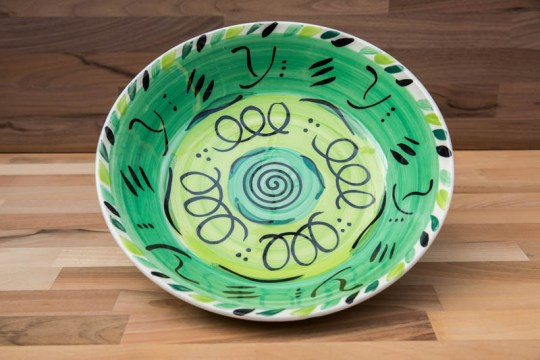 Abstract pasta bowl in green