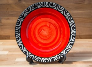 Aztec 11″ dinner plate in red
