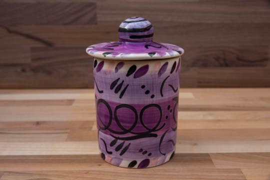 Abstract tea caddy in purple
