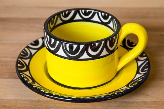 Aztec small cup and saucer in yellow