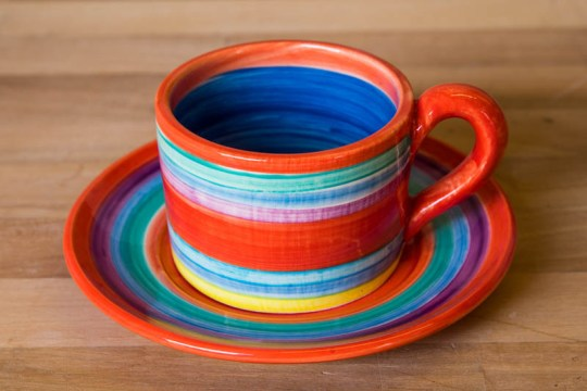 Horizontal stripey small cup and saucer in Red